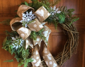 Winter  Wreaths, Grapevine Wreath, Burlap Ribbon Wreaths, Front Door Wreaths, Wreaths,