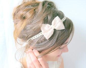 Bridal headpiece, wedding lace headpiece, bridal headband, wedding headband with ivory lace, bow bridal headpiece, knot bridal hair jewel