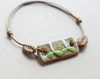 Ceramic Stone Sprout Nature Bracelet Waxed Linen Cord For Women/ Girls Jewelry