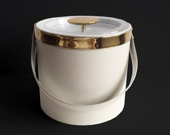 Off-White & Gold Ice Bucket by Georges Briard
