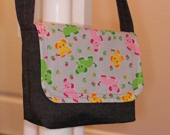 Toddler Bag Messenger - Cross Body Bag Reversible - Elephants