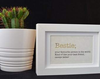 Urban Dictionary Wall Art / Bestie Definition / Dictionary Art / Funny Definition / Word Art
