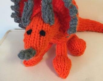 Bright Orange Knitted Triceratops Stuffed Animal