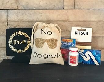 No Ragrets Favor Bag, No Regrets, Hangover kit, survival kit, Bachelorette, Bachelor, Birthday, 21st Birthday