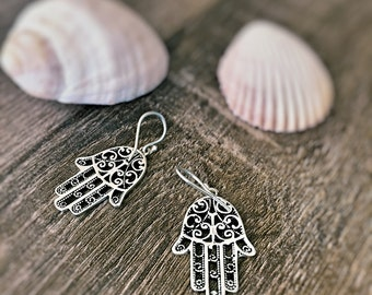 Sterling Silver Hamsa Hand Earrings, Hand of Fatima Earrings, Boho Earrings, Goodluck earrings, Solid 925 Sterling, Everyday Minimalist