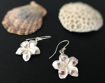 Frangipani Sterling Silver Earring, Plumeria Sterling Silver Earring, Everyday Earrings, Minimalist Design, Flower Earrings, French Wire