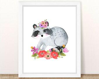 PRINTABLE Woodland Nursery Girl Art, Raccoon Nursery Art, Watercolor Raccoon Nursery Art, Floral Woodland Raccoon, Floral Printable Wall Art