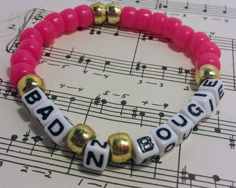 Bad N Bougie Ankle Bracelet, Hot Pink, Bracelet with saying, lyric from song, Migos, Ankle bracelet, Summer, Song lyric jewelry, quavo