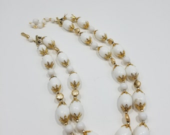 Beautiful White Bead with Gold Bead Double Strand Necklace, Japan