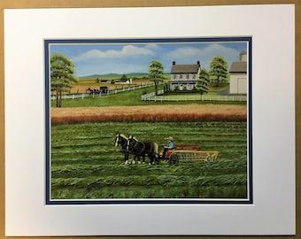 Raking Hay Oil Painting Print