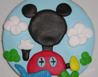 12 Mickey Mouse Clubhouse Decorated Sugar Cookies Baked Goods Sugar Cookie Handmade Cookies Kid's Birthday Favors  Mickey Mouse Treats