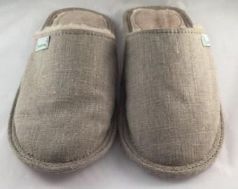 Women slippers, linen slippers, grey slippers, wool slippers, warm slippers, closed toe slippers, slippers for women, women's house shoes