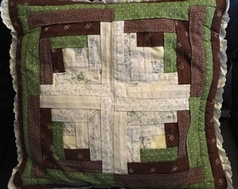 Cross quilted pillow