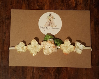 Newborn Headband with Velvet Hydrangea Flowers