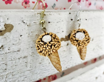 Drumstick Ice Cream Cone,  Handmade Polymer Clay Miniature, Charm/Earrings/Necklace