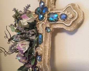 Wall Decor/ Wall Art/ Wall Hanging/ Home Decor/ Home Design/ Furniture/ Stone Cross with Floral/ Jeweled