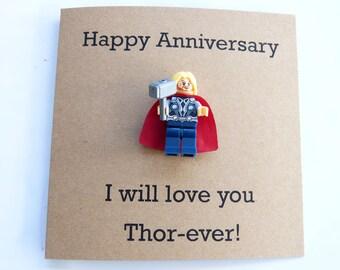Husband Anniversary card. Superhero mini figure card. Marvel anniversary card. Thor minifigure. Avengers anniversary card. Geek card.