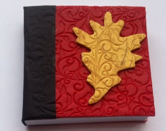 Oak leaf red journal notebook diary sketchbook