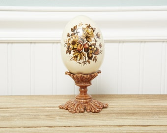 Vintage Spring Wild Flower Daisy Porcelain Egg on pedestal stand-Large Decorative-Spring Decor Floral-Dispaly-Collect Egg Glaze