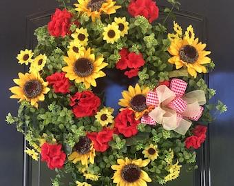 Spring/Summer Wreath - Boxwood Wreath - Summer Door Wreath - Spring Wreath for Door - Front  Door Wreaths - Sunflower Wreath