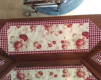 Handmade table topper with beautiful vintage red roses