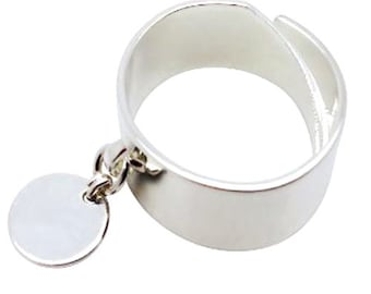 Ring ring plated silver round pampille