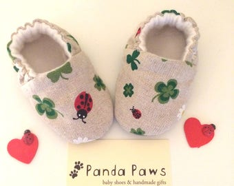 Handmade soft sole pre-walking baby shoe- Clovers and ladybirds, good luck,baby gift, first shoes