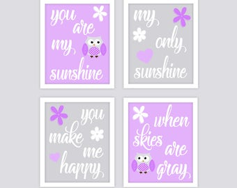 You are my Sunshine Owls Nursery Art