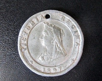 Antique 1897 Queen Victoria In Celebration of the Diamond Jubilee Original White Medal Medallion Coin