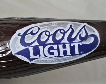 Coors Baseball Limited Edition Light Beer Bottle Silver Bullet Bat Shape with Cap Empty Collectible