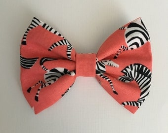 Coral zebra, zebra bow, pink bow, hair bow, zebras, baby bows, kid bows, bows, hair accessory, haid clips, headbands