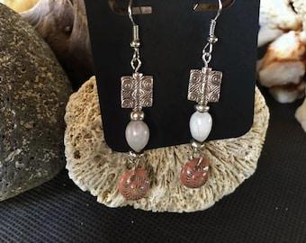 Silver Tone Nerita Shell & Job's Tears Earrings