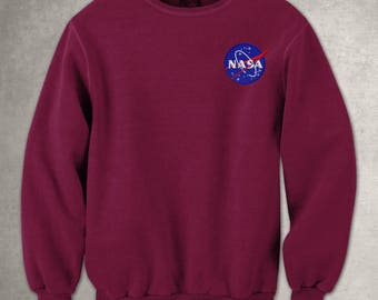 Nasa Meatball Embroidery Logo Unisex Adult Sweatshirt, Maroon Jumper