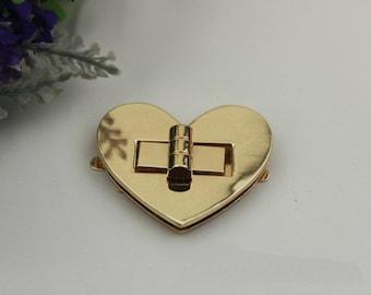2pcs 50mm Heart shaped Purse lock gold  twist purse turn lock clutch clock Purse bag handbag Latch hardware