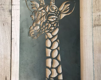 Giraffe steel metal wall garden art home decor plasma cut