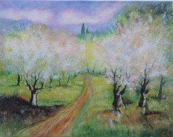 Original Oil Painting on Canvas. Spring Landscape painting. Trees Painting. Contemporary Fine Art.