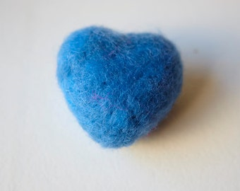 Valentines day. Felted Heart. Slate Blue. 6cm