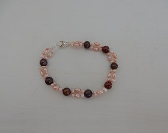 Pink and Brown Pearl Bracelet