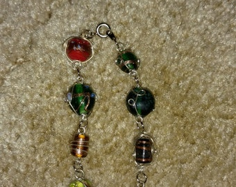 Wire wrapped multicolor beaded bracelet