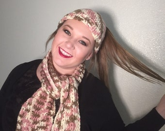 Crocheted Bun/ponytail beanie with matching scarf