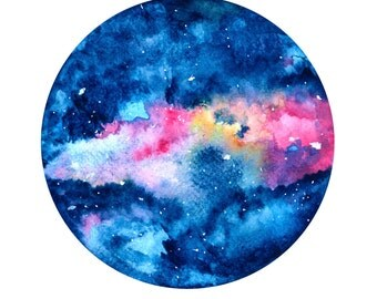 Planet Watercolour Drawing Art Print
