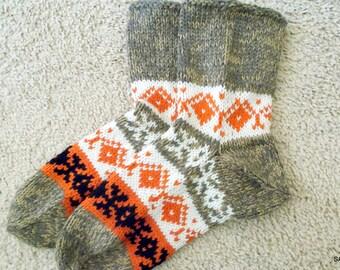 Wool handmade socks, Knitted mens socks, Short socks, Knit slippers, Hand knitted wool socks, Soft and warm, Knitted gift, Woolen socks