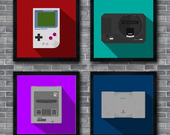 Retro Consoles 20x20cm Wall Prints