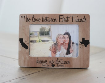 Best Friends Long Distance States Personalized Picture Frame The Love Between Best Friends Knows No Distance Gift