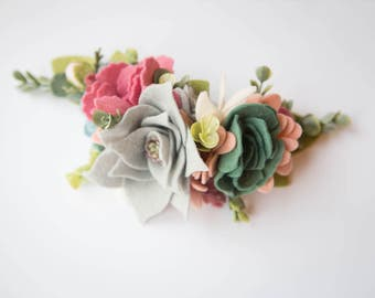 Felt Flower Crown//Succulent Woods// Clip