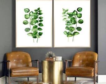 Eucalyptus Leaves Set of 2 Art print Green Eucalyptus Leaves Wall decor Botanical watercolor print Eucalyptus Green Leaves decor Eucalyptus