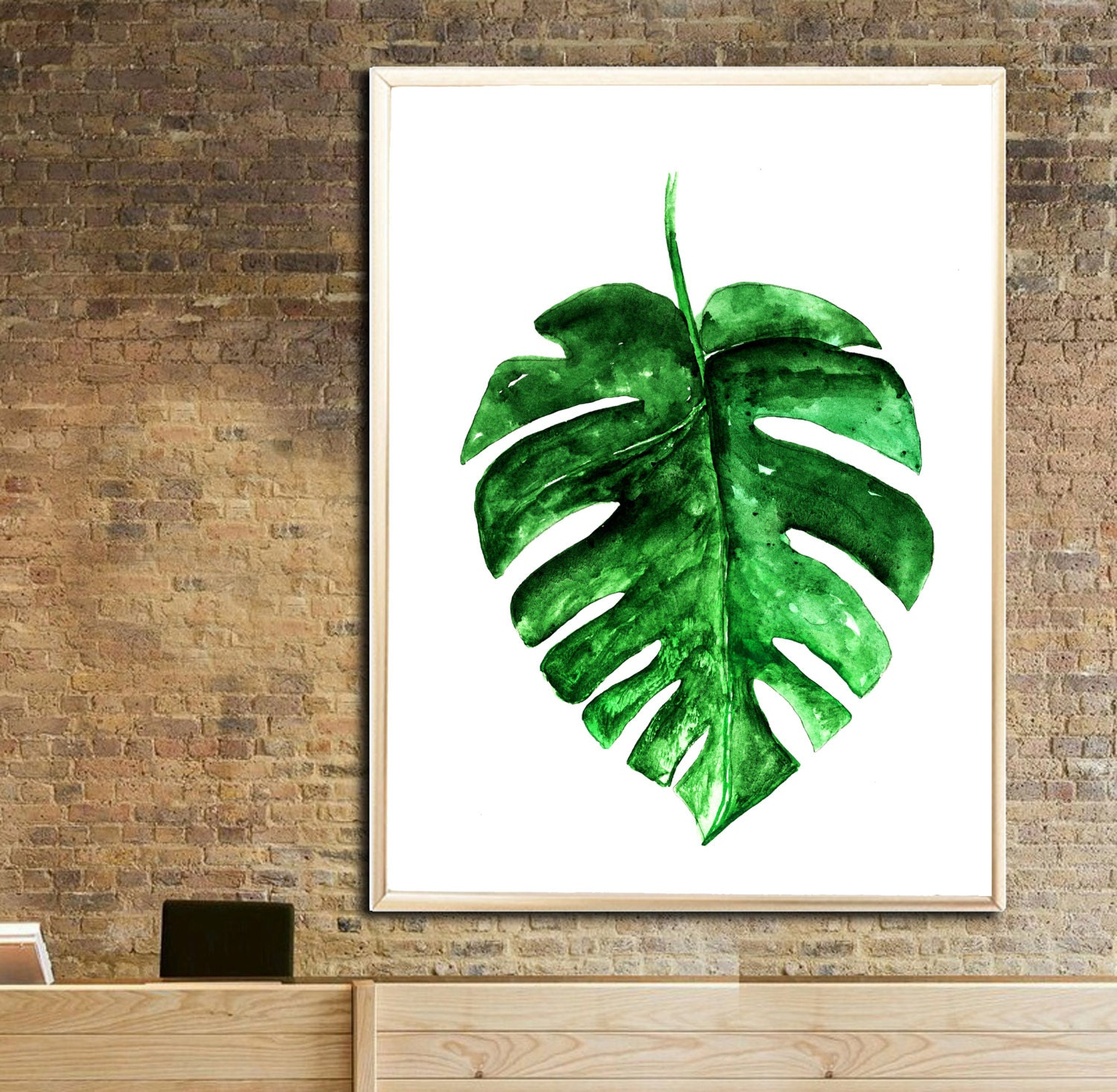 Monstera leaves art print 2 palm leaves wall decor monstera zoom amipublicfo Images