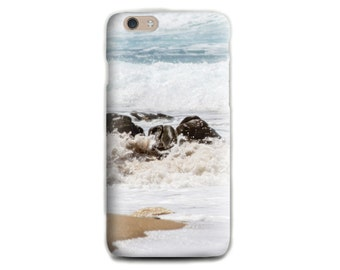 Beach iPhone 6 case Soft silicone Photo Print Rock Ocean iPhone case White iPhone case Gift for her for him iPhone 5 case Beach lovers gift