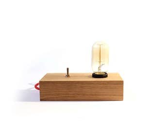 Lampe_Alpha / lamp vintage wooden design / vintage lamp