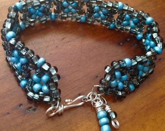 Blue and Metallic Grey Seed Bead Bracelet, Beaded Bracelet, Blue Bracelet, Unique Bracelet